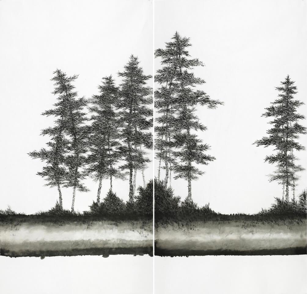 Bo Mi Kim Listen forest 2018_2, 3 inchiostro su carta coreana – ink on korean paper 153x144cm (75x144 ognuno), 2018