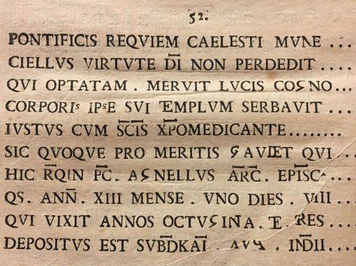 Iscrizione del vescovo Agnello, da Desiderio Spreti, XVIII secolo
